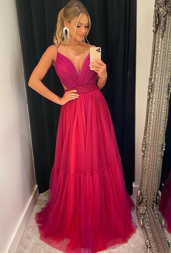 vestido longo pink fucsia em tule para madrinha de casamento
