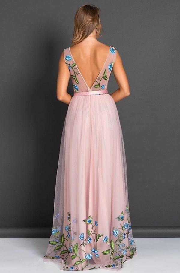 vestido longo rose com bordado floral