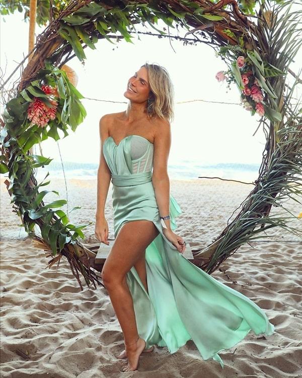vestido de festa longo verde menta para madrinha de casamento na praia