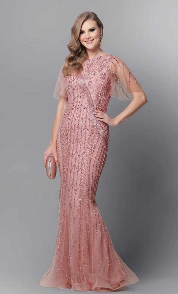 vestido de festa longo rosa bordado para mãe da noiva