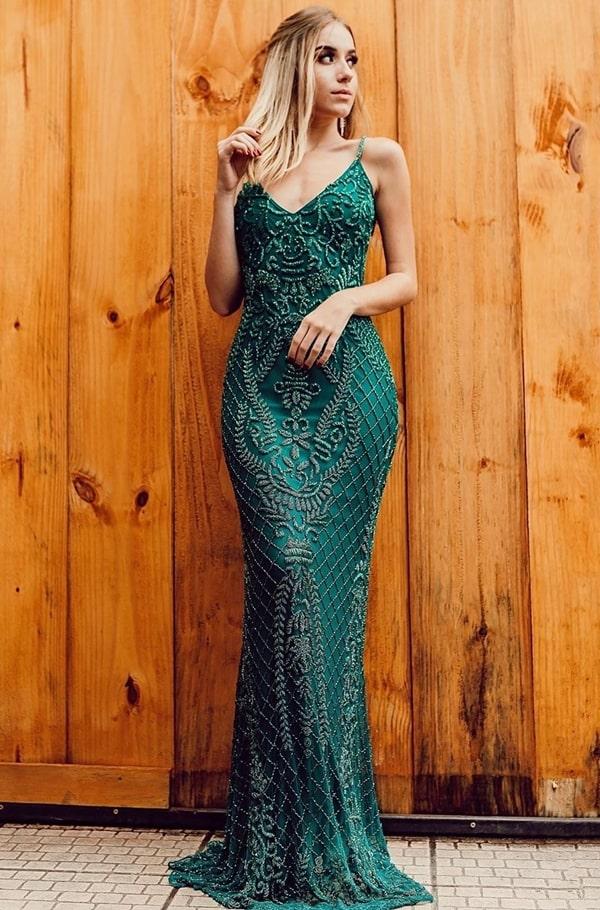vestido de festa longo verde bordado para formatura