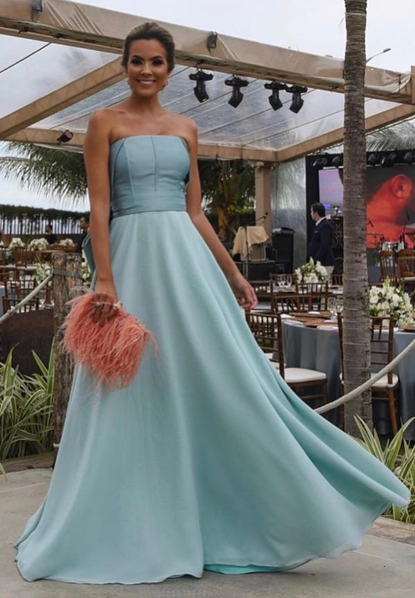 vestido de festa longo azul serenity para madrinha de casamento