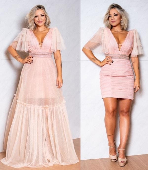 vestido de festa rose 2 em 1