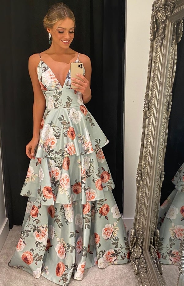 vestido de festa longo estampado floral para madrinha de casamento