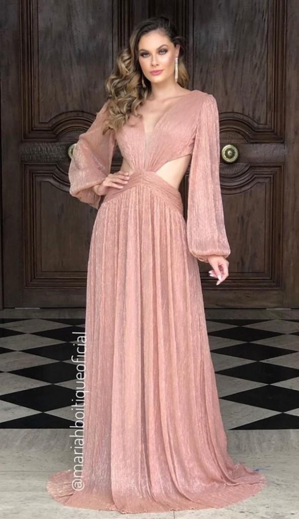 vestido de festa longo nude de lurex com mangas longas e recortes na cintura