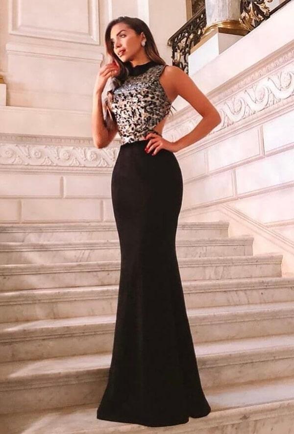 vestido de festa longo preto para convidada de formatura