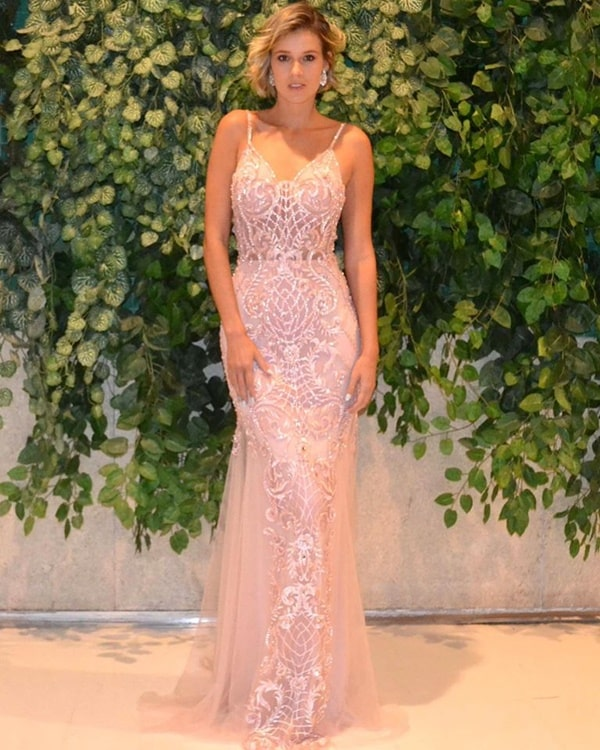 vestido de festa longo rose justo com bordado