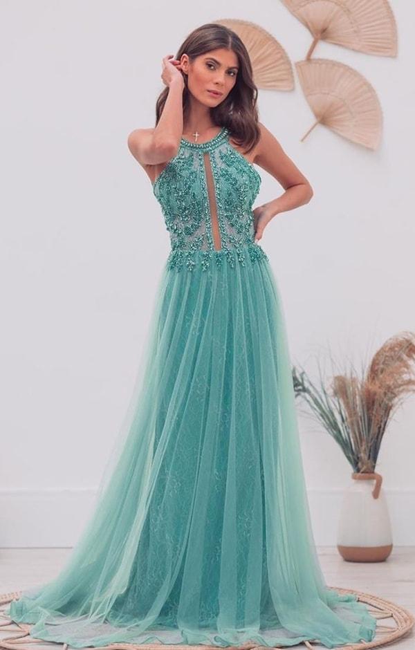vestido de festa longo verde água para madrinha de casamento