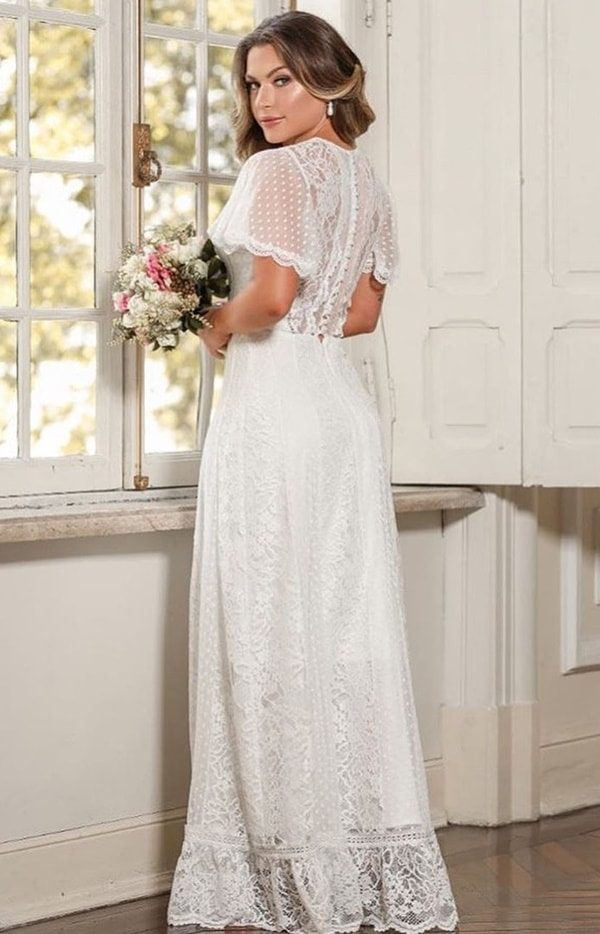 vestido de noiva simples de renda com manga curta