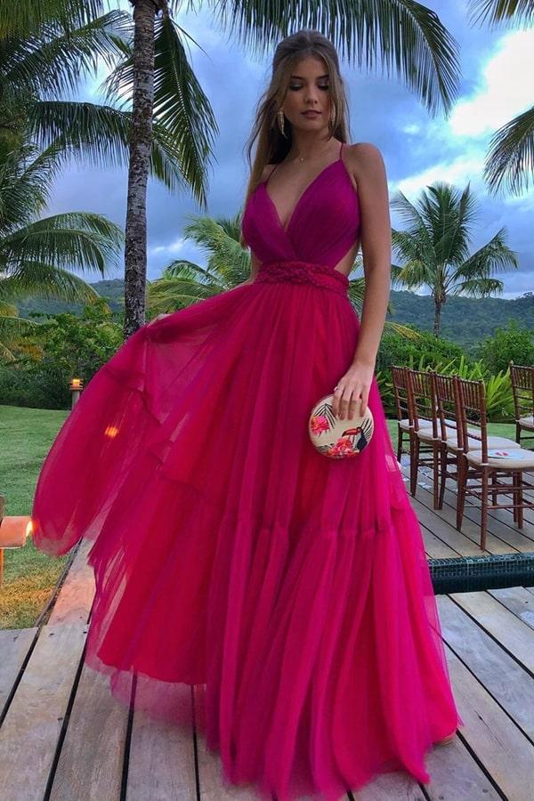 vestido longo fucsia para casamento na praia