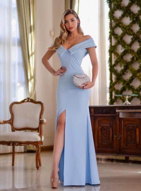 vestido longo azul serenity bonito e barato