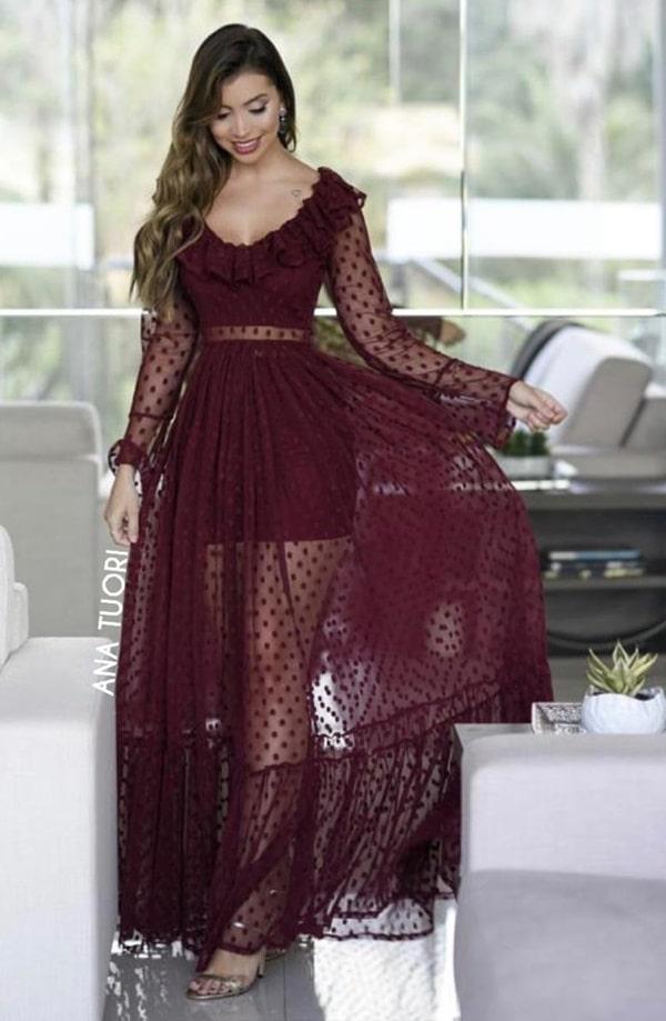 vestido longo marsala com estampa de poás