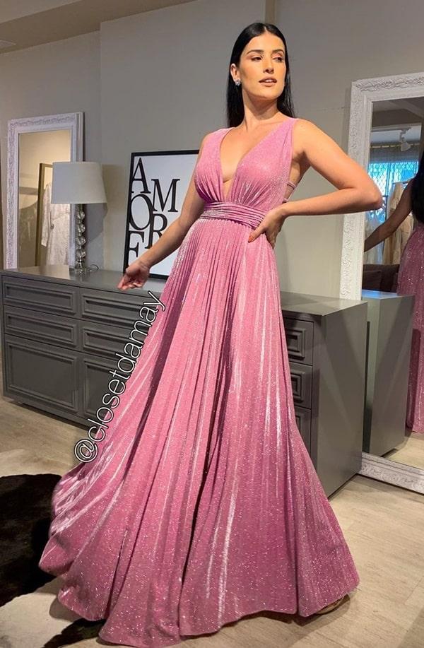 vestido longo rosa de lurex plissado