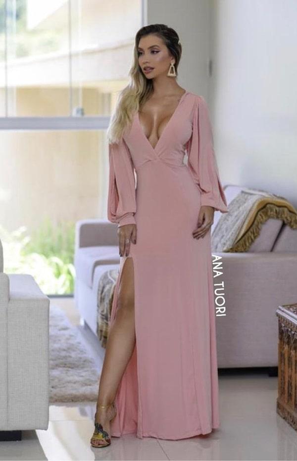 vestido de festa  longo rose com mangas longas bufantes bonito e barato