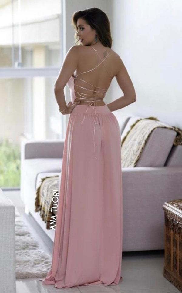 vestido longo rose com decote nas costas