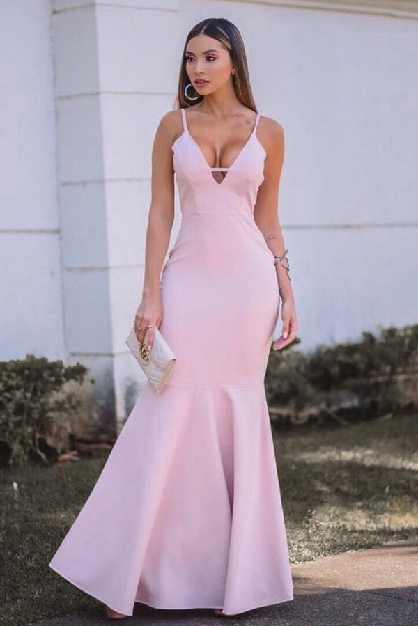 vestido longo rose simples
