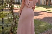 vestido rose longo para convidada de casamento