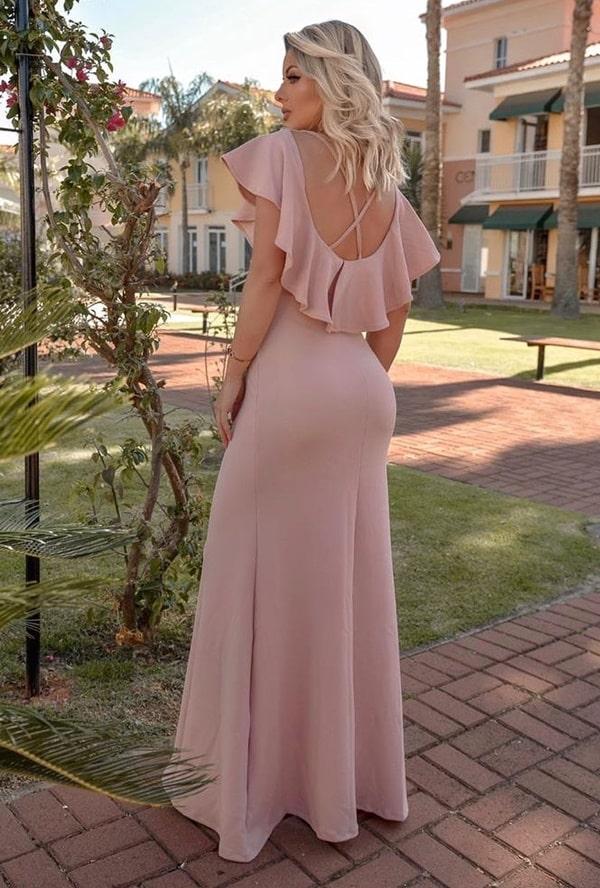 vestido longo rose para casamento durante o dia