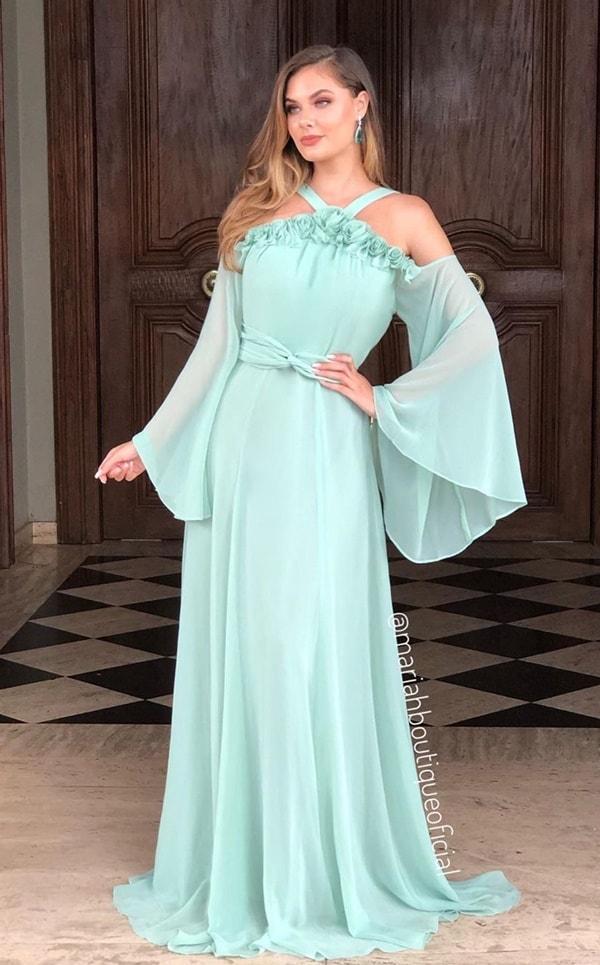 vestido longo verde menta com manga longa para madrinha de casamento