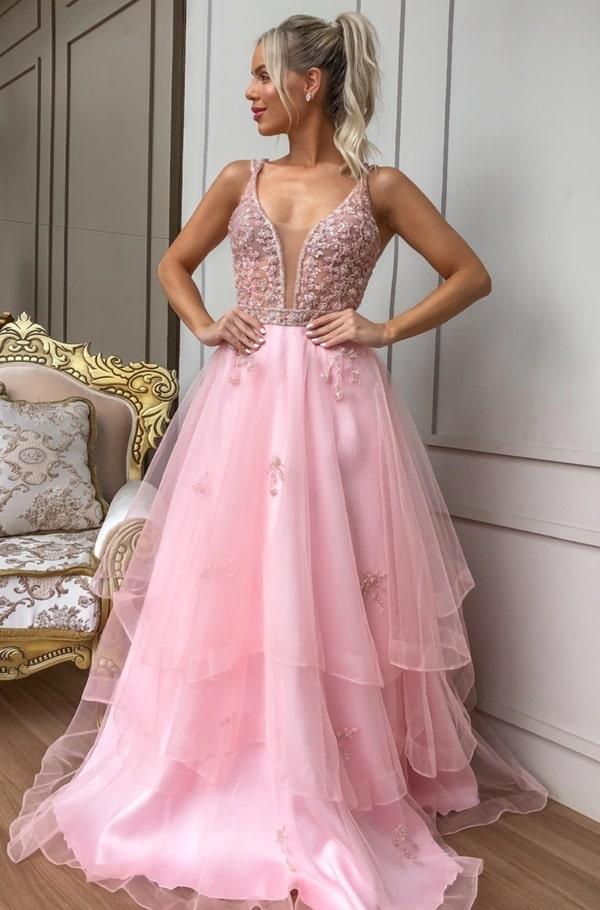 vestido de festa longo rose 2020