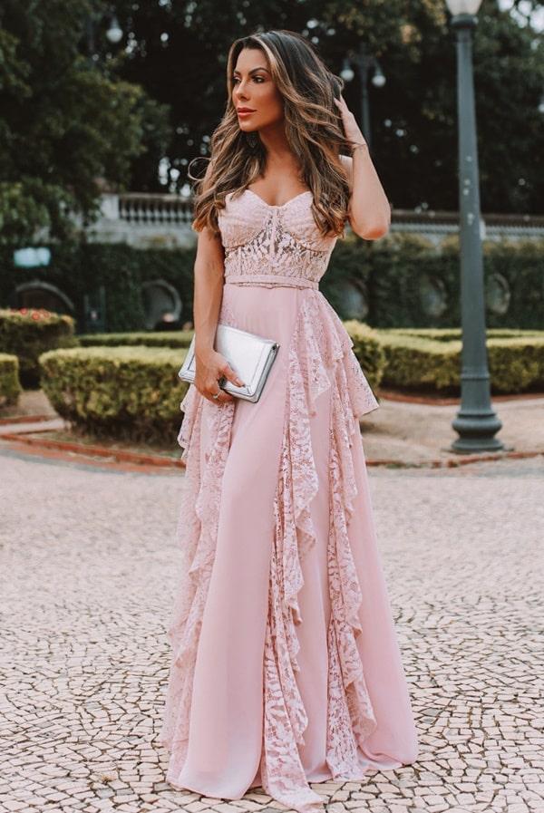 vestido longo rose com corpete para madrinha de casamento
