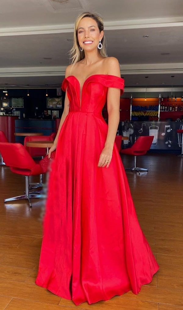 vestido de festa vermelho de zibeline