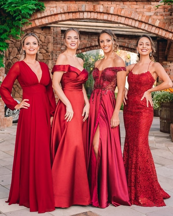 madrinhas de vestido vermelho