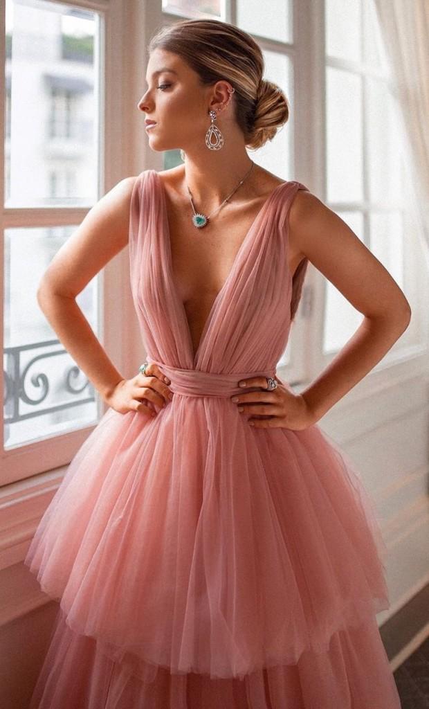 vestido de festa rosa para madrinha de casamento a noite