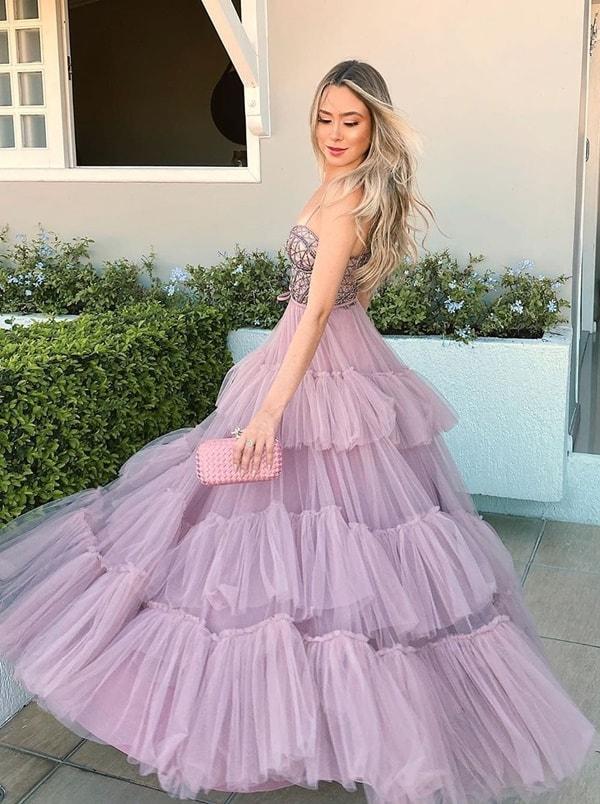 vestido longo lavanda para madrinha de casamento