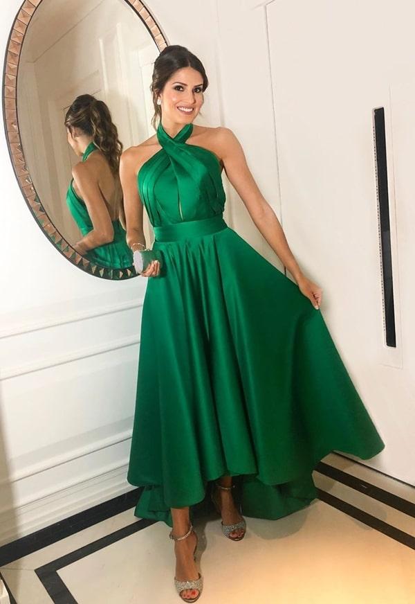 vestido de festa midi verde esmeralda