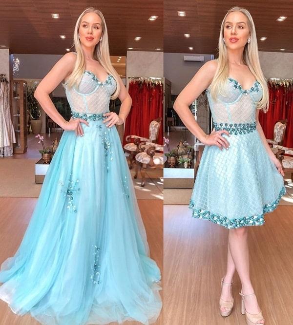 vestido de festa 2 em 1 azul tiffany