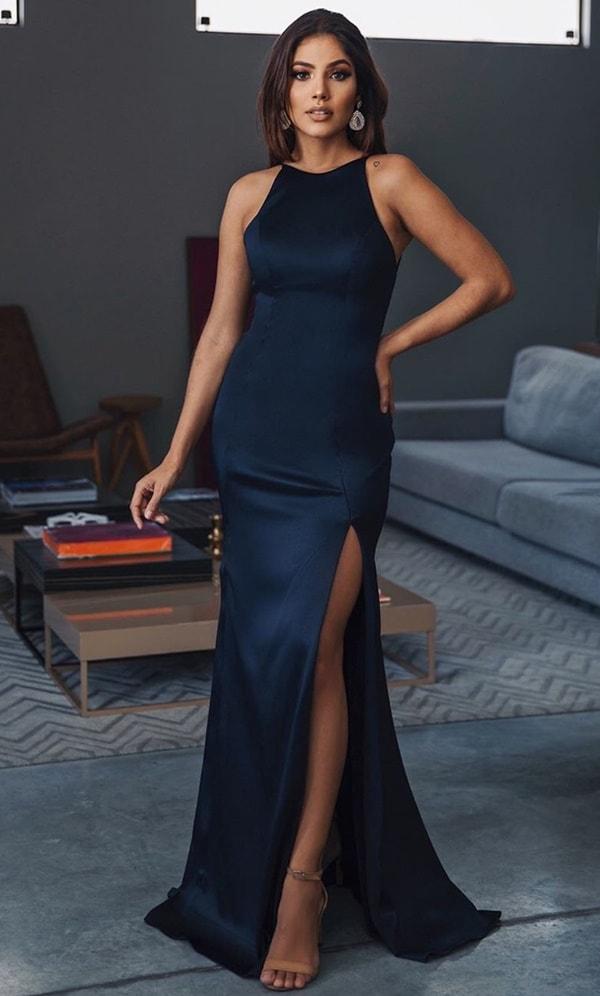 vestido de festa longo azul marinho justo