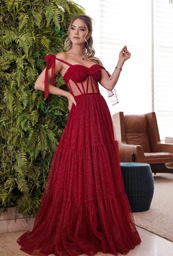 vestido de festa vermelho com corpete corselete