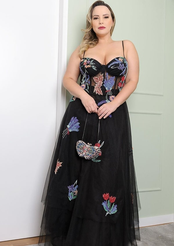 vestido de festa longo preto plus size para madrinha de casamento