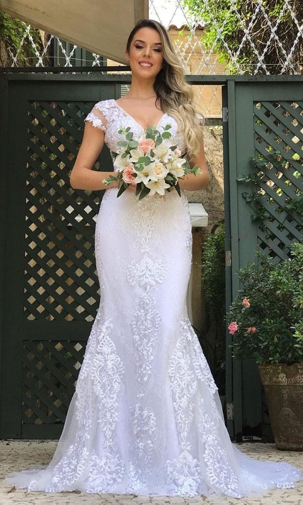 vestido de noiva simples copm manguinha