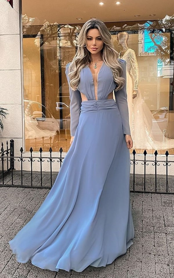 vestido longo azul serenity com manga bufante longa
