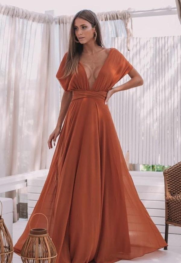 vestido longo multiformas terracota em tons terrosos