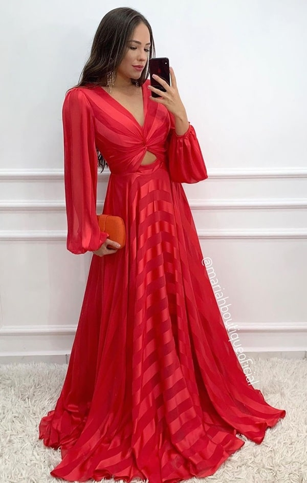 vestido vermelho com manga longa para  casamento