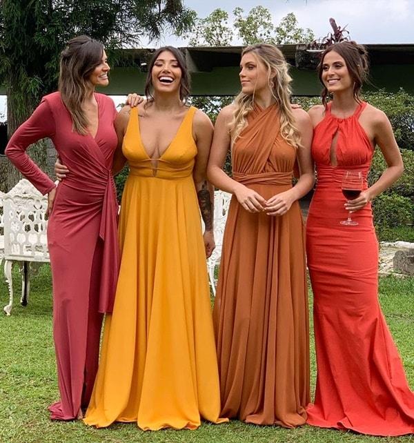 vestidos paleta tons terrosos para madrinha de casamento