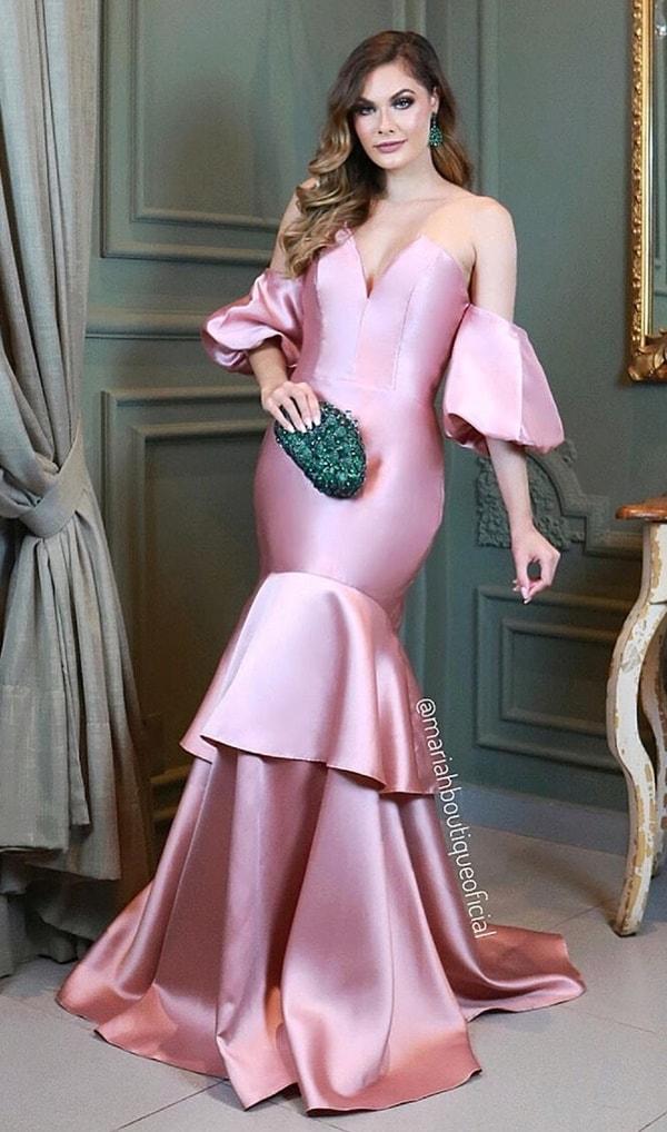 vestido de festa rose modelo sereia com mangas bufantes