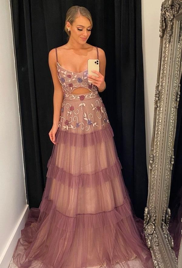 vestido longo lilás bordado para madrinha de casamento