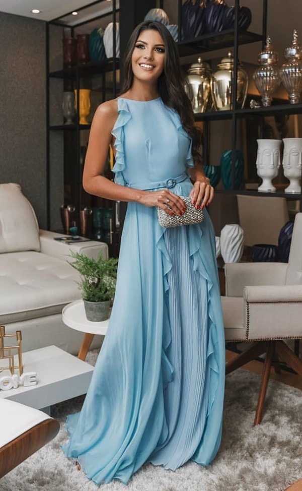 vestido longo azul claro para casamento