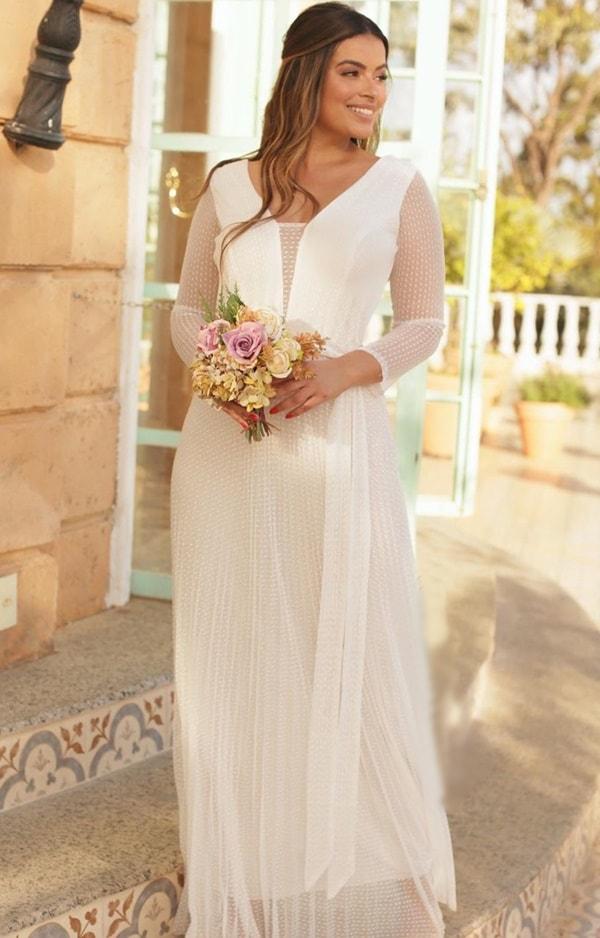 vestido de noiva simples plissado com mangas longas em tule de poas
