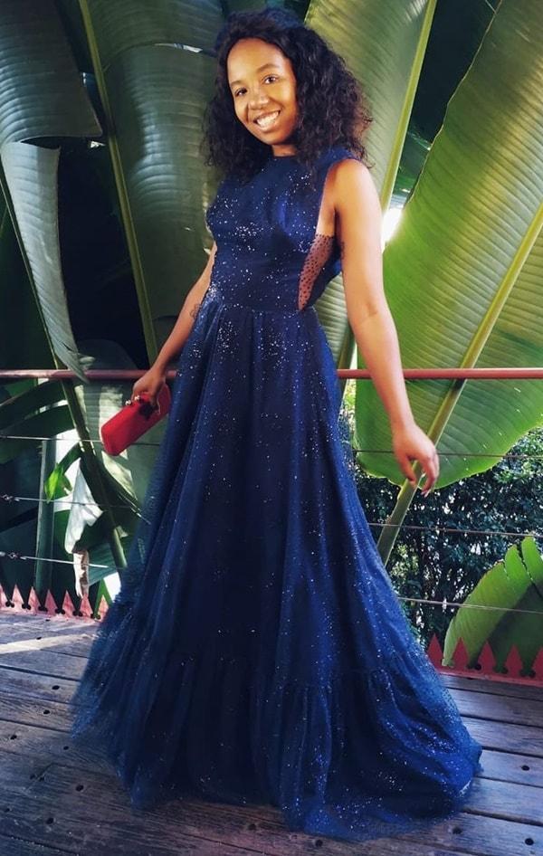 vestido longo azul marinho com brilho estilo glitter