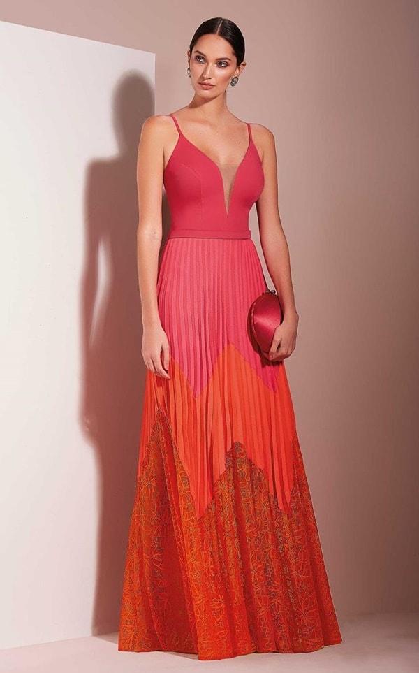 vestido de festa longo pink e laranja
