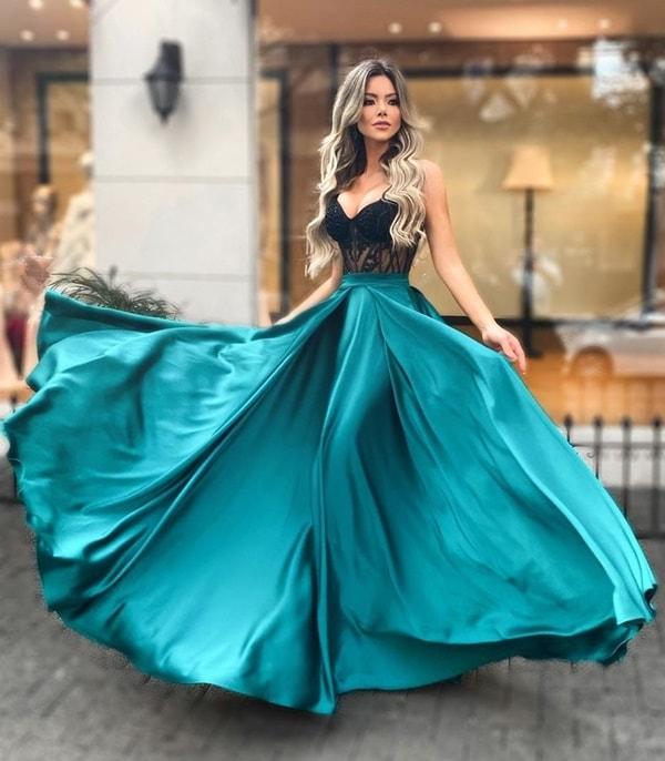 vestido de festa longo verde esmeralda e preto